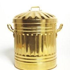 thùng rác mạ vàng